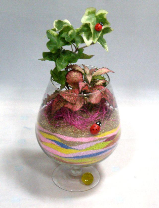 Композиция в бокале из искусственных цветов своими руками